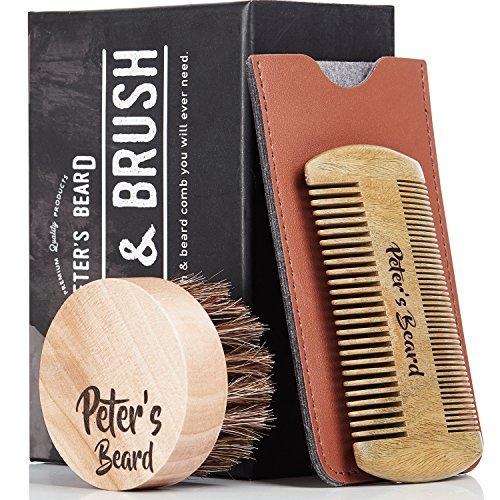 Premium Cepillo de Barba y Peine de Barba de Madera - Antiestático y