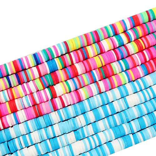 ZSDFW Kit para hacer pendientes de arcilla, disco de viruta plano, redondo, suelto, hecho a mano, para hacer joyas, collares, pulseras y cuentas de arcilla para niños y adultos, 6 mm, 4 #