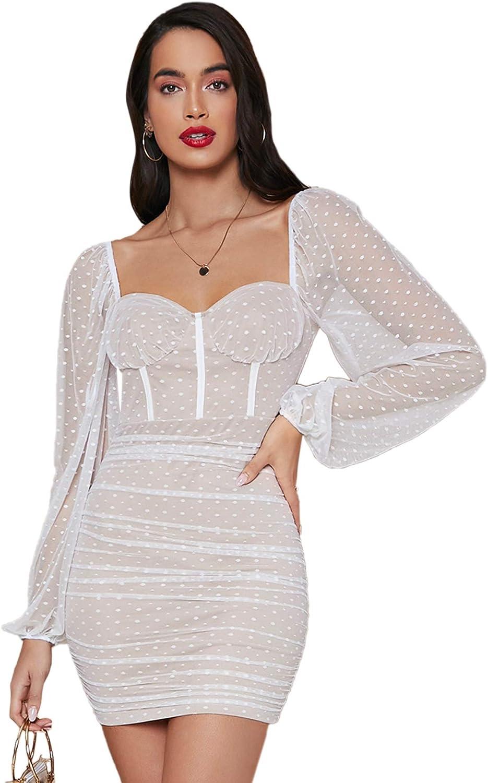 Floerns Women's Sweetheart Neck Lantern Sleeve Swiss Dot Bodycon Mini Dress