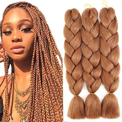 Jumbo Braiding Hair Synthetic Ombre Braiding Hair 3pcs Kanekalon Braids Hair Extensions for Box Twist Braiding 24 Inch 3Pcs/Lot 100G/Pcs (Light-Brown)