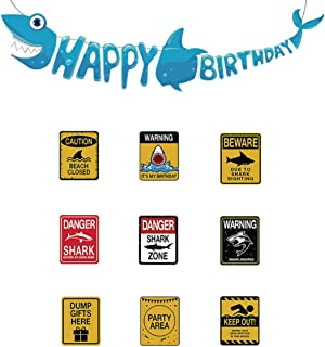 Shark Party Supplies Set - 9 styles Shark Zone Party Decorations Waterproof Party Wall Decor Signs and Designed Shark Shape Birthday Banner for Shark Theme Parties