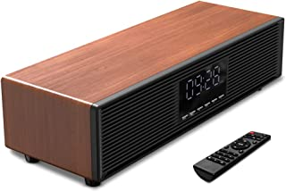 40W Bluetooth Speaker 5.0 Digital Alarm Clock, Wireless Retro HiFi Dual Driver Sound bar Speakers, LED Time Display, USB,TF-Card, AUX (4D Surround Stereo Loud Loud,Brown Wooden Grain)