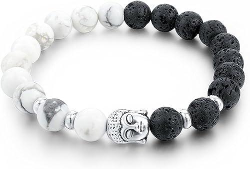 Yellow Chimes D'vine Collection Howlite Lava Stone Reiki Yoga Meditation Healing Buddha Diffuser Bracelet for Men & W...