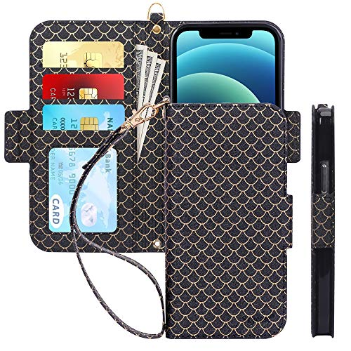 "Skycase Compatible for iPhone 12 Case/Compatible for iPhone 12 Pro Case,[RFID Blocking] Handmade Flip Wallet Case with Card Slots and Detachable Hand Strap for iPhone 12/12 Pro 6.1"" 2020,Fish-Black"