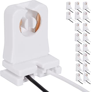 Non-Shunted Turn-Type T8 Lamp Holder JACKYLED 18-Pack UL Socket Tombstone with 10 inches Wires Attached for LED Fluorescent Tube Replacements