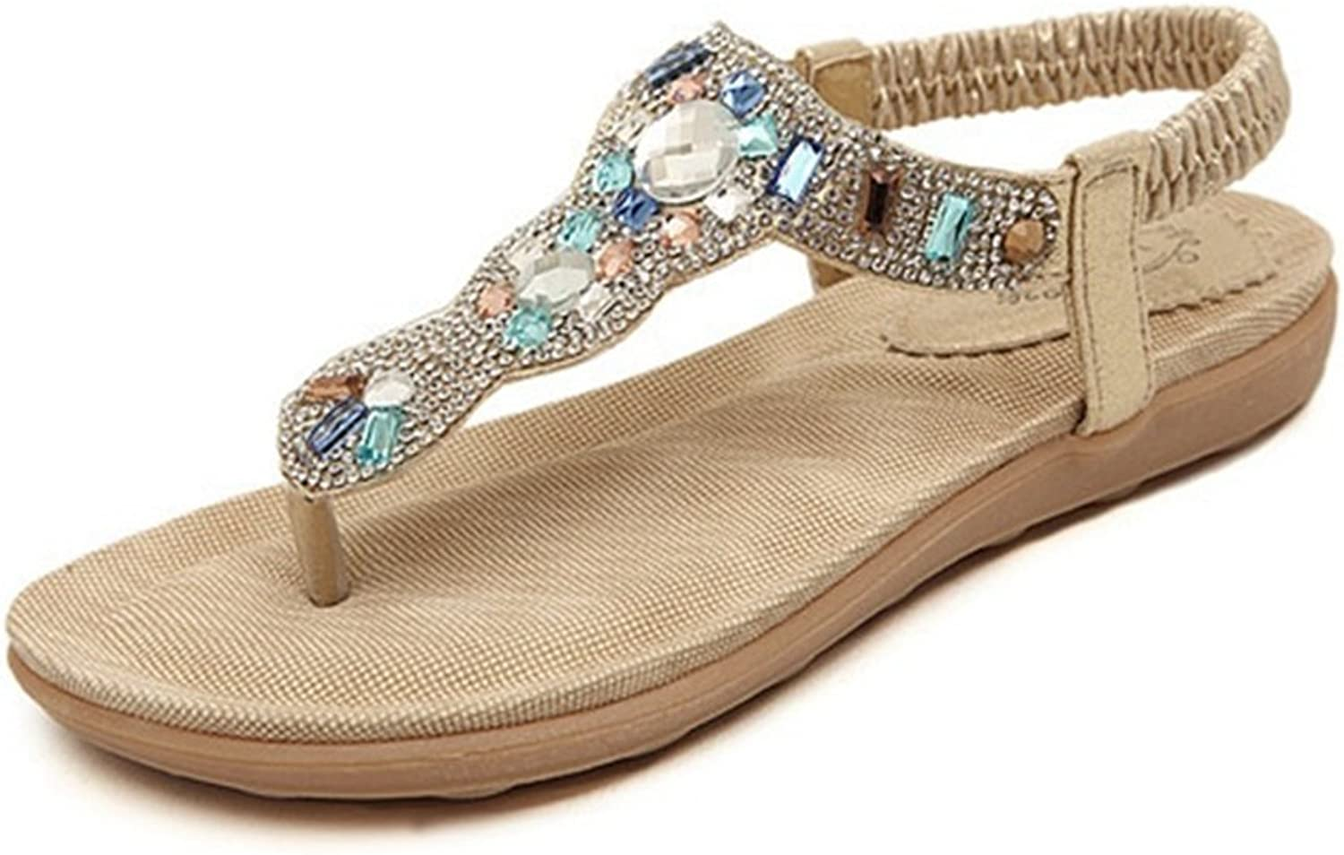 CYBLING Fashion Slip On Bohemian Flats Sandals for Women Beach Strap shoes with Rhinestones