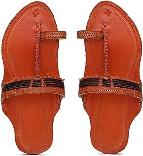 KALAPURI� Ladies Kolhapuri Chappal in Genuine Leather with Orange Pointed Shape Base and Black Veni Colour Upper. Handmade...