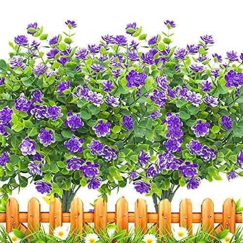Artificial Flowers Outdoors Fake uv Resistant Plastic Plants, 8 Bundles (Blue)
