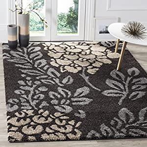 SAFAVIEH Florida Shag Collection SG456 Floral Non-Shedding Living Room Bedroom Dining Room Entryway Plush 1.2-inch Thick Area Rug, 3'3″ x 5'3″, Dark Brown / Grey
