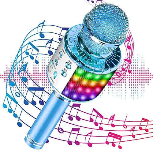 Micrófono inalámbrico Bluetooth Karaoke con luces LED multicolores,...