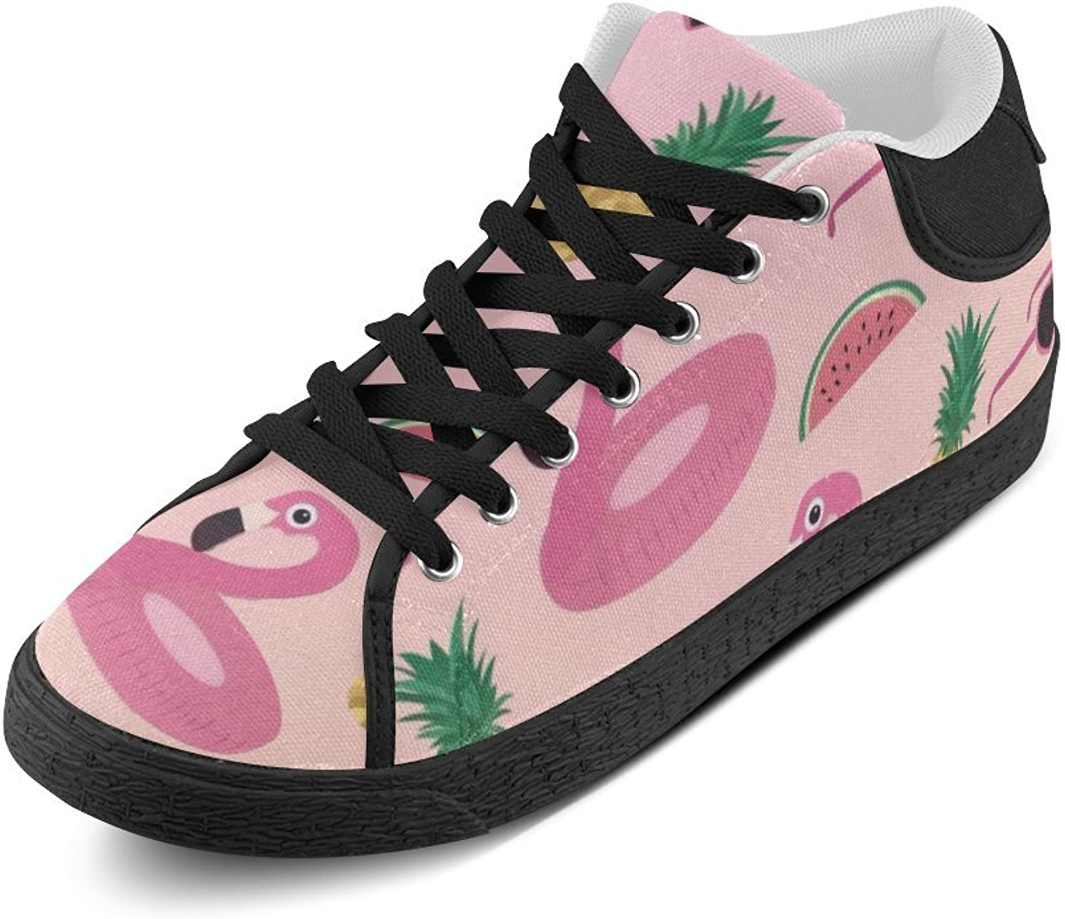 CERLYRUAN Pink Flamingos Pineapple Watermelon Glasses Canvas Chukka Canvas Women's shoes