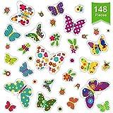 Outus 148 Piezas Pegatinas de Colibrí de Mariposa Calcomanías de Ventana de Flores Colores Pegatinas de Vinilo de Mariposa Lleno de Infantilidad