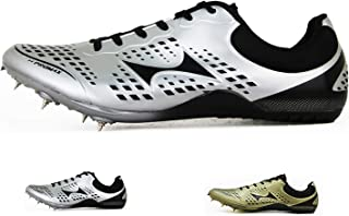 HEALTH Women's Men's Track and Field Shoes Track Spike Running Sprint Shoes Mesh Breathable Professional Athletic Shoes Gold & Silver