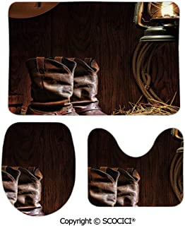 SCOCICI Three-Piece Toilet Seat Pad Custom Authentic Western Riding Tools Shoes in Vintage Ranch Barn with Nostalgi Fashion Bathroom Rug Mats Set Bath Mat + Contour + Toilet Lid Cover