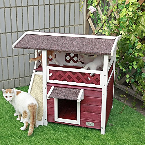 Petsfit Cat House for Outdoor Cats Weatherproof with Scratching Pad and Escape Door, Outside Feral Cat Shelter for 1-2 Cats