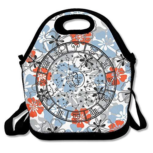 N / A Zodiaco-Horóscopo Círculo Zodiaco Signos Rueda Fácil de Transportar Viaje Mantenimiento Esencial Bolsas de Almuerzo