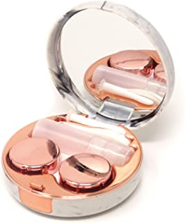 Honbay Fashion Marble Contact Lens Case Portable Contact Lens Box Kit with Mirror (Round)