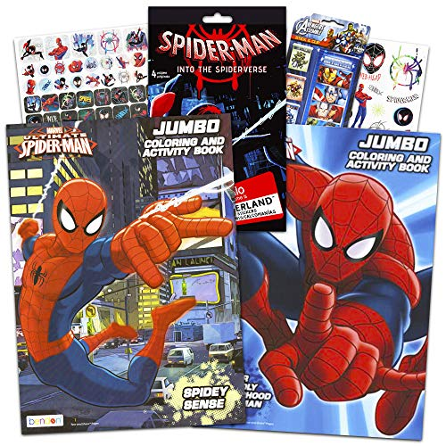 Spiderman Marvel Coloring and Activity Book Set with Stickers (2 Books)