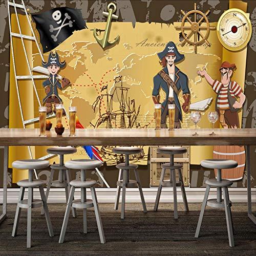 Hintergrund wallpaper_Caribbean Pirate Hintergrundbild Café Bar Teestube Thema Restaurant kreative wallWallpaper 3D Fototapete Paste Grenze Wandbild Tapete Fototapete Wandbilder-350cm×256cm