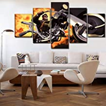 DUODUOQIAN Full Throttle Remastered Game 5 Pieces Paintings Canvas Framed Poster 5 Pieces Wall Art Hd Print Picture for Bo...