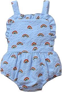 طفلة قوس قزح مطبوعة قطعة واحدة حللا الرضع أكمام منزعج الرقبة حمالة مثلث ارتداءها رومبير (Color : Blue, Kid Size : 9M)