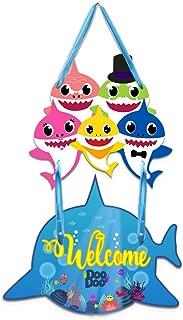 Sakolla Shark Welcome Door Hanging Decoration - Shark Sign Wall Decor for Kids Shark Themed Birthday Party Baby Shower