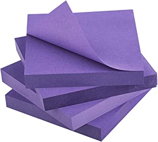 ZCZN Purple Sticky Notes,3 x 3 in,100 Sheets/Pad,4 Pads/Pack