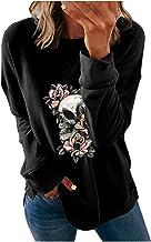pour Sweat-shirt Veste ample col rond Halloween imprimé manches longues Tops Sweatshirt imprimé tête d'os Veste femme à ca...