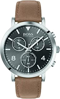 Hugo Boss Mens Quartz Watch, Chronograph Display And Leather Strap 1513691