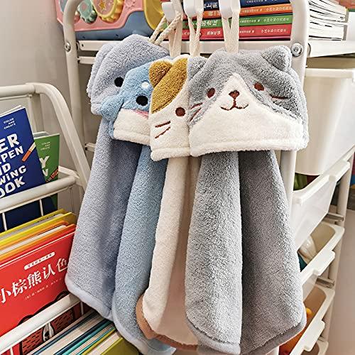 Toalla de mano linda de terciopelo coral toalla de mano se puede colgar pequeña de una sola historia cocina baño niños toalla de cara