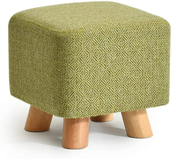 Linen Farbric Footstool Ottomans Bench Rest Step Stool Soft Detachable Upholstered Feet Protection Design Beech Short 4 Leg Stands Color Matcha Size Square