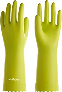 LANON Wahoo 3 Pairs PVC Household Cleaning Gloves, Reusable Dishwashing Gloves with Cotton Flocked Liner, Waterproof, Non-Slip, Large