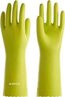LANON Protection Reusable Cleaning Gloves wahoo PVC Dishwashing Gloves w/Cotton Flock Liner, Non-slip Household Gloves for Gardening, Kitchen, Waterproof, Medium, Intertek Listed