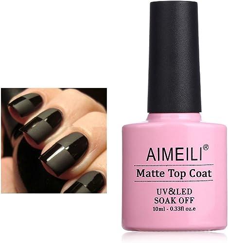 AIMEILI No Wipe Matte Top Coat Mat Vernis Gel Semi-Permanent Vernis à Ongles Manucure Soak Off UV LED Gel Nail Polish...