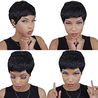 Brazilian Virgin Hair 27 Pieces Short Human Hair Weave With Free Closure 27 Piece Weave Human Hair 3 Pcs Tissage Bresilienne Natural Color #1B