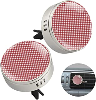 EGGDIOQ 2 Pack Zinc Alloy Car Essential Oil Diffuser Red White Checks Round Car Air Conditioner Outlet Perfume Clip Car De...