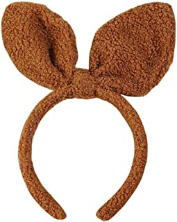Headband Bunny Rabbit Ears Fluffy Soft Cute Fashion Hoop Hairband Halloween Christmas Party Birthday Headwear Cosplay Costume for Girls Boys Toddlers Kids Adults,like teddy dog toy poodle (brown)