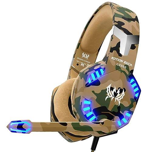 Auriculares Gaming Cascos PS4 con Microfono, Diadema Ajustable, Bass OverEar 3,