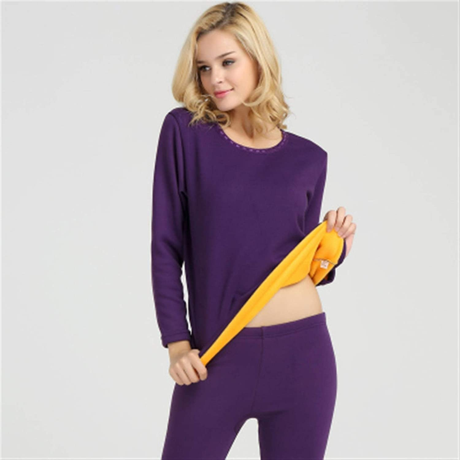 ZHANGZEHONG Thermal Underwear Men Winter Women Long Johns Sets Fleece Keep Warm in Cold Weather Size L to 6XL (Color : Purple, Size : XXX-Large)