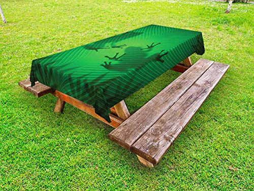 Ambesonne Animal Outdoor Tablecloth, Frog Shadow Silhouette on The Banana Tree Leaf in Tropical Lands Jungle Games Graphic, Decorative Washable Picnic Table Cloth, 58' X 104', Shades of Green