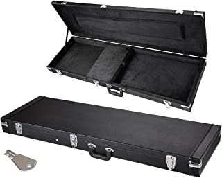AW Electric Bass Guitar Hard Case Wooden Hard Shell Carrying Case Lockable with Key Square