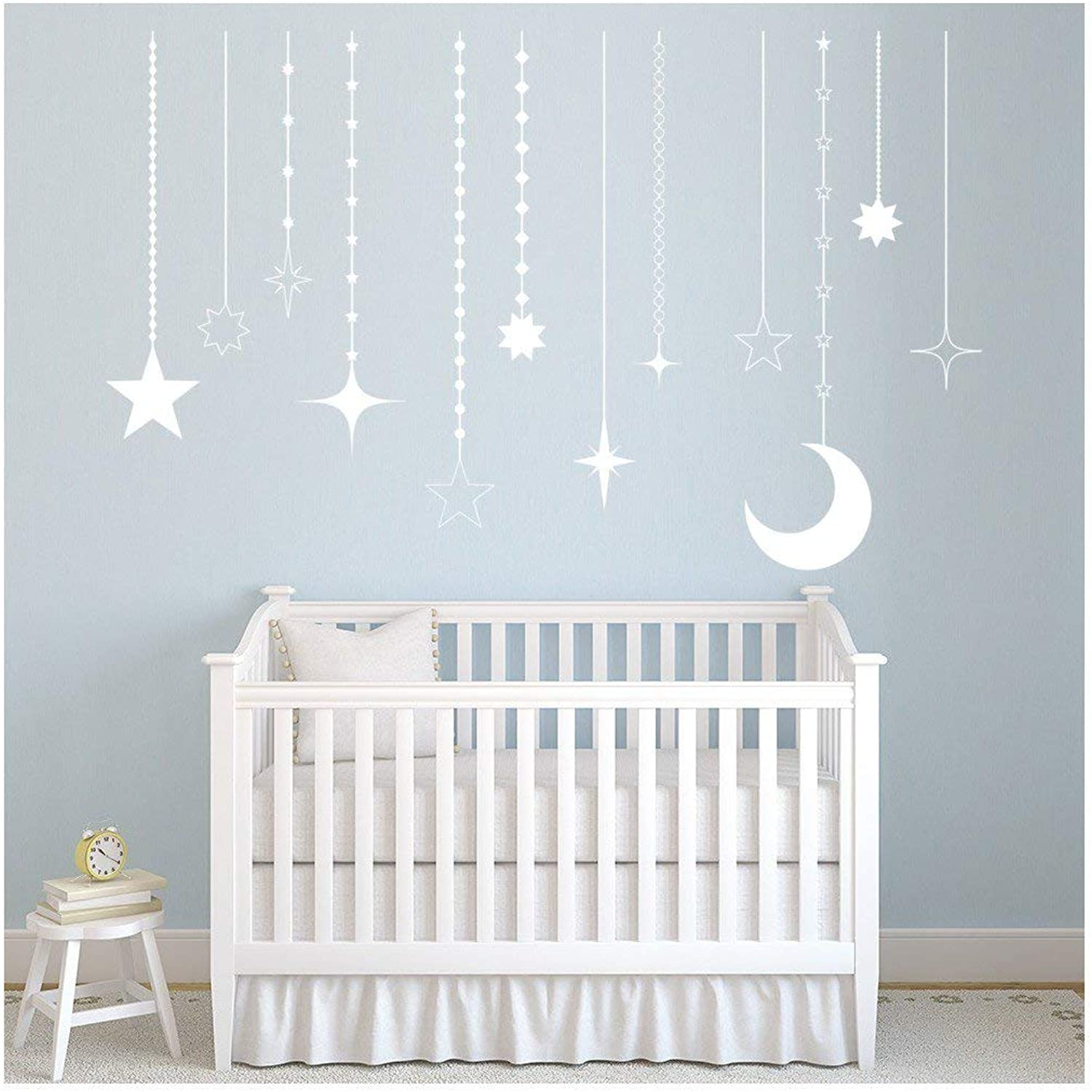 Hanging Stars Wall Sticker Moon Wall Decal Baby Nursery Home Decor available in 5 Sizes and 25 Colours Medium Ivory Beige