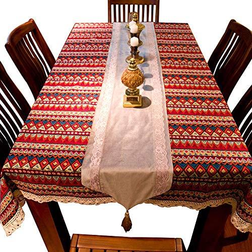 Qiutianchen Mantel Algodón y Lino jardín Retro Mantel Nacional Viento Tela Mantel Mesa de café Rectangular Ronda Mantel Cubierta Toalla, Rojo, 140 * 220 cm (Color : Red, Size : 140 * 220cm)