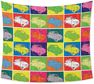 jecycleus Cars Psychedelic Tapestry Hippie Italian Cars in Colorful Frames and Pop Art Style Grunge Display Artful Composition Tapastry Wall Art for Living Room W62.8 x L51 Inch Multicolor