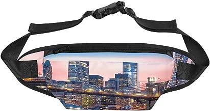 INTERESTPRINT Brooklyn Bridge Manhattan Skyline Slim Running Belt Fanny Pack Bum Bag for Outdoors Running Hiking