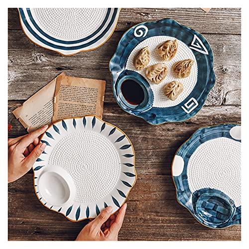 QINGGANGLING999 Vajilla Completa Placa de Masa hervida con Placa de vinagre de cerámica Placa de Sushi Plato Frito Placa Placa Creativa Placa de partición Vajilla (Color : H)