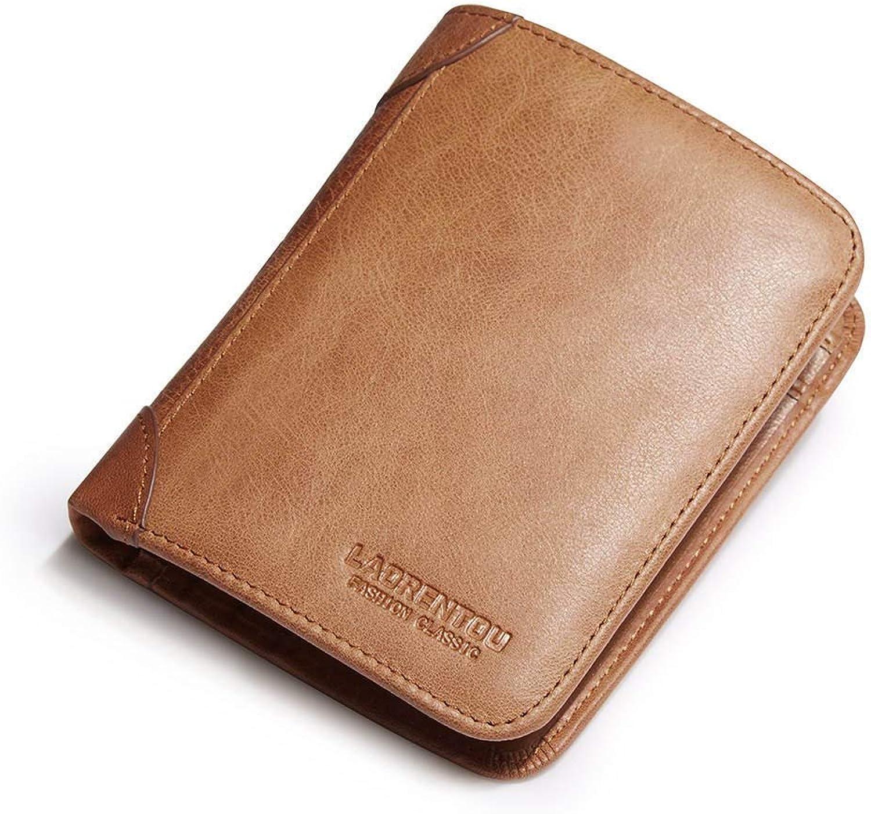 LMSHM Kurze Brieftasche Für Herren Leder Herren Short Wallet Casual Herren Geldbörse Standard Kartenhalter,Braun,12  9  1,5 cm B07MN4CXL3