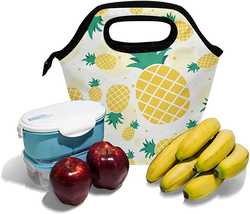 WELLDAY Premium Pineapple Series Lunch Box Lunch Bag Insulated Lunchbox Cooler Bag Lunch Tote Bag For Work Beach Office Picnic School