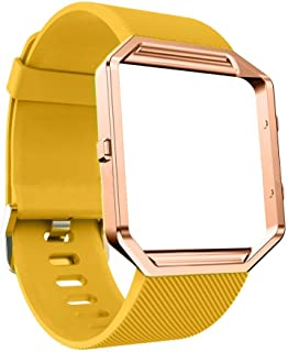 DECVO For Fitbit Blaze Bands, Silicone Replacement Band Strap with Stainless Steel Frame Case for Fitbit Blaze Smart Fitness Watch for Women Men Girls Boys Rose Gold Case (YELLOW, 1 PC)