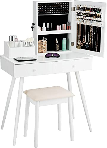 popular Giantex Makeup sale Vanity Set with Lockable Jewelry Cabinet and Mirror, wholesale 4 Makeup Organizers, 2 Sliding Drawers, Makeup Table with Cushioned Stool, 2-in-1 Dressing Table with Jewelry Armoire outlet sale